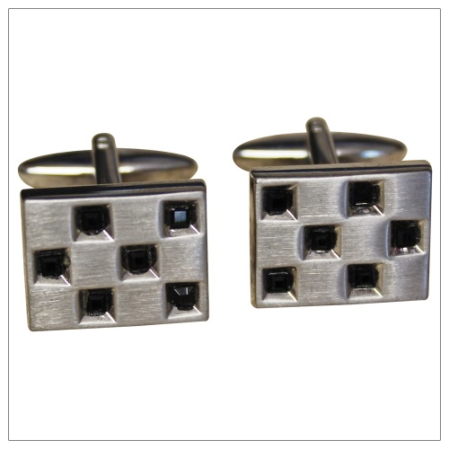 Brushed Rhodium Cufflinks with Jet Black Stones