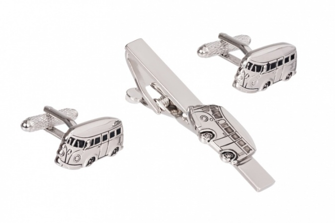 Campervan Cufflinks and Tie Clip Set