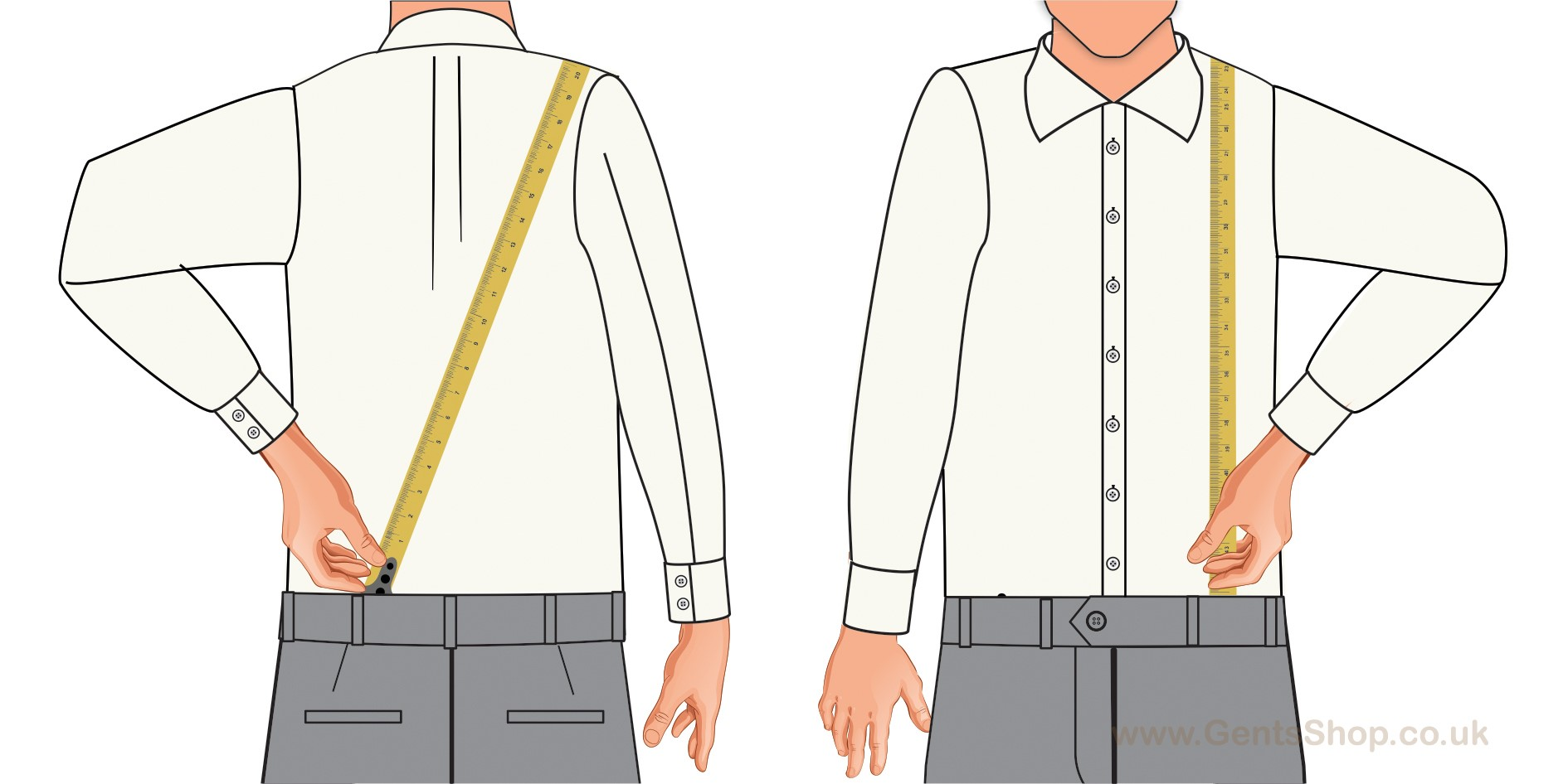 How to measure to ensure the correct size of trouser braces or suspenders for trousers.