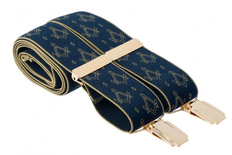 Masonic Masons Emblem Black Leather End Button Trouser Braces Mens Suspender
