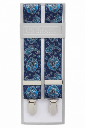 Mens Blue Trouser Braces with Light Blue Paisley Design