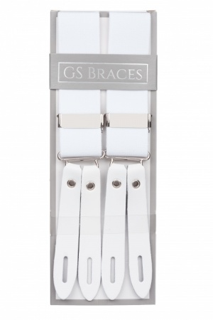 Men's White Button On Braces