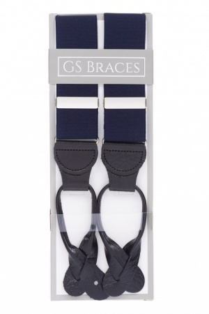 Dark Midnight Blue Button On Trouser Braces