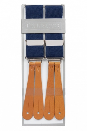 Navy Blue Button Braces With Tan Leather Ends