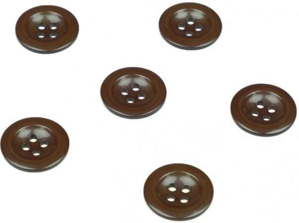 Pack of 6 Brown Sew on Buttons for Braces Trousers