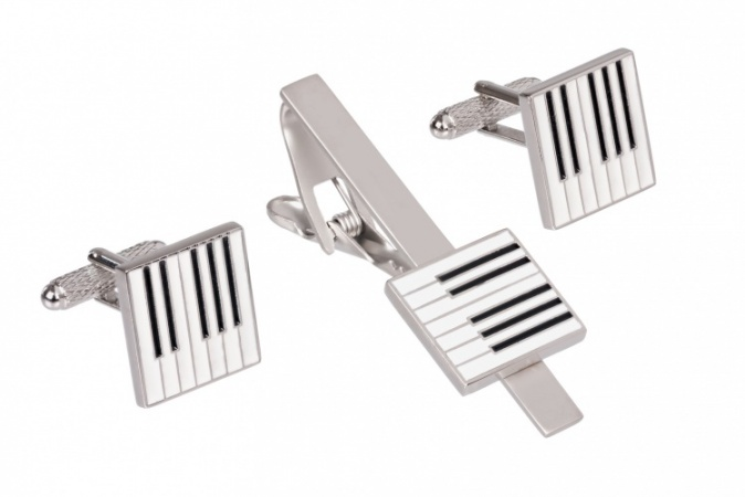 Piano Keyboard Tie Clip Cufflinks Set