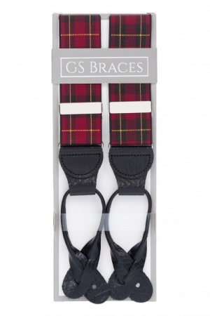 Red Tartan Button On Trouser Braces