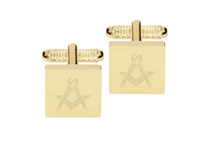 Square Engraved Masonic Cufflinks Gold