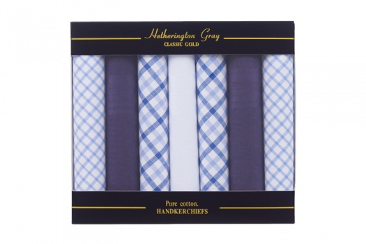 7 Pack Mixed Design Light Blue White and Navy Blue Handkerchiefs