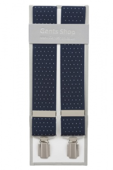 Blue Suit Trouser Braces With White Polka Dots