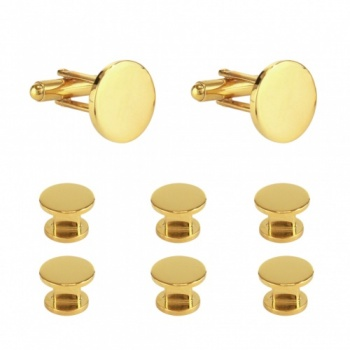 Plain Cufflinks and Shirt Studs - Gold