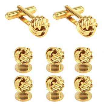 Knot Dress Shirt Studs and Cufflinks Set - Gold