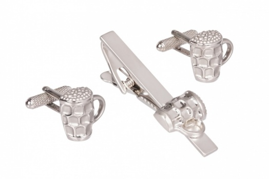 Beer Tankard Cufflinks and Tie Clip Set