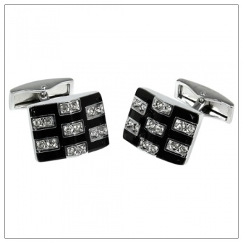 Black Cufflinks with Clear Crystal Stones