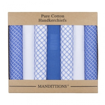 Blue and White Checked and Plain Hankies