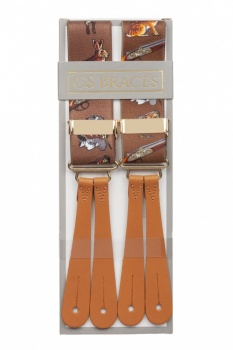 Brown Hunting Leather Button Braces
