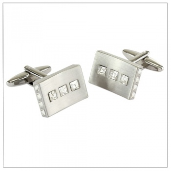 Brushed Rhodium Cufflinks with Crystal Stones