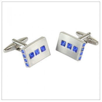 Brushed Rhodium Cufflinks with Sapphire Blue Crystal Stones
