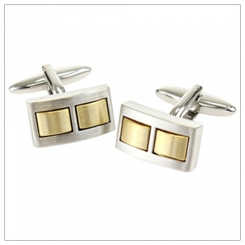 Brushed Rhodium Shirt Cufflinks With Brushed Gold Centre