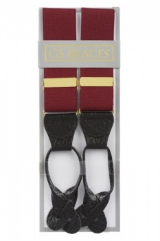 Classic Plain Burgundy Y Back Elastic Trouser Braces With Rolled Leather Ends