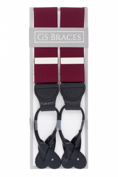 Burgundy Button On Trouser Braces