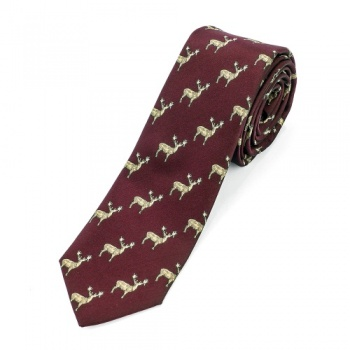Burgundy Stag Tie and White Handkerchiefs Bundle
