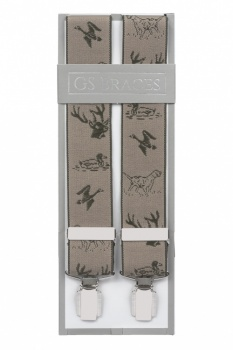 Country Stag Gun Dog and Duck Trouser Braces - Brown