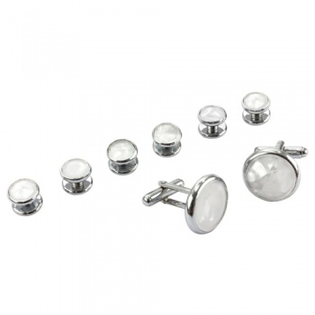 Dress Shirt Button Stud and Cufflink Set - Mother of Pearl Effect