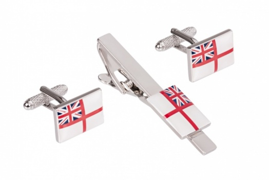 Royal Navy Ensign Flag Cufflinks and Tie Clip Set