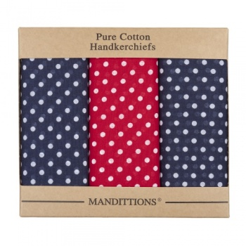 Extra Large Navy Blue and Red Spotted Hankies