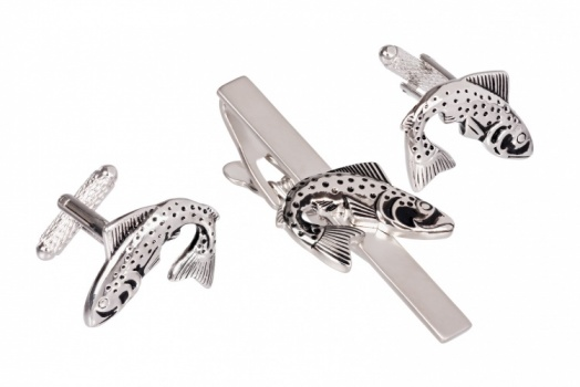Fish Cufflinks and Tie Clip Set