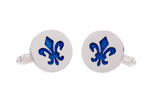Fleur De Lis Cufflinks with Blue Centre