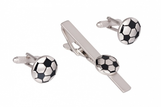 Football Tie Bar Clip and Cufflink Set