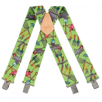 Gardeners Green Work Trouser Braces with Garden Tools Design