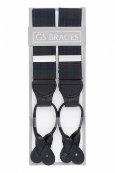 Green and Blue Tartan Button On Trouser Braces