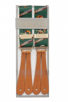 Green Hunting Leather Button Braces
