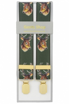 Green Stags Head Trouser Braces