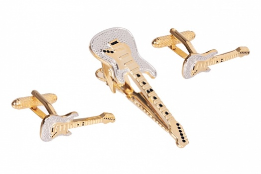 Guitar Cufflinks and Tie Clip Set