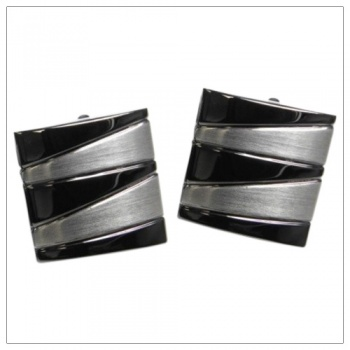 Gunmetal and Silver Square Cufflinks for Mens Shirts