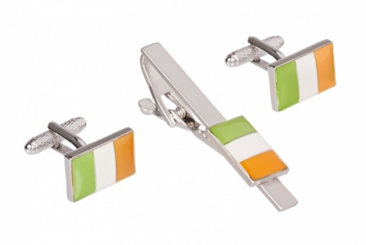 Irish Flag Cufflinks and Tie Clip Set