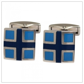 Light Blue and Navy Blue Cufflinks for Shirts