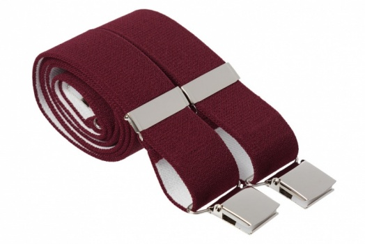 Maroon Heavy Duty Trouser Braces With Large Strong Clips