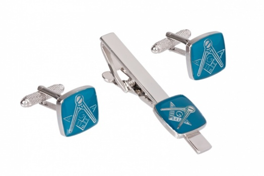 Masonic Cufflinks and Tie Clip Set Blue