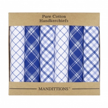 Mixed Blue and White Checked Hankies