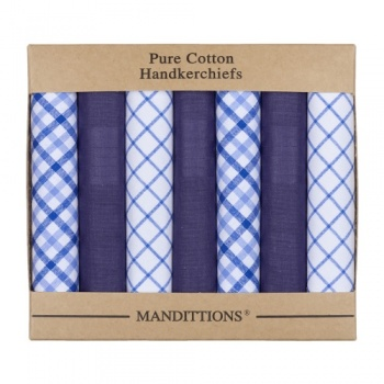 Mixed Plain Navy and Blue and White Checked Patterned Handkerchiefs