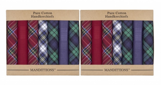 Twin Pack Mixed Plain and Tartan Handkerchiefs