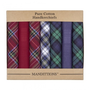 Mixed Plain and Tartan Hankies