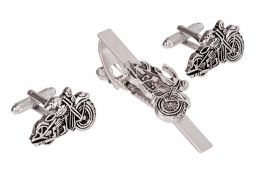 Classic Motorbike Cufflinks and Tie Clip Set