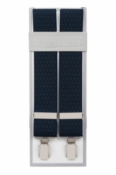 Navy Blue Trouser Braces With Green Pin Dots