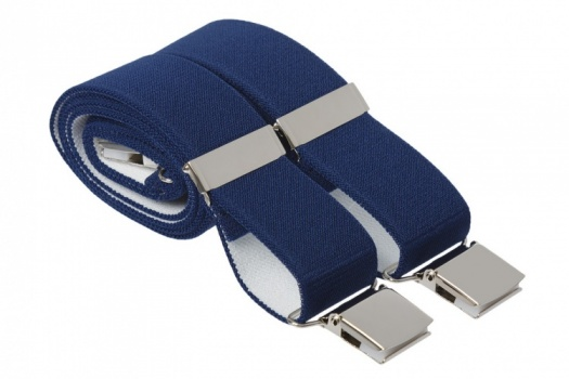 Navy Blue Heavy Duty Trouser Braces With Large Strong Clips